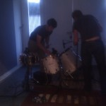 setting up the hallway drums