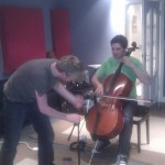 recording the cello with Aongus